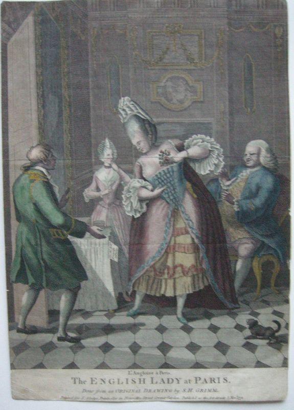 Karikatur The English Lady at Paris kolor. Orig Kupferstich 1771 S. H. Grimm