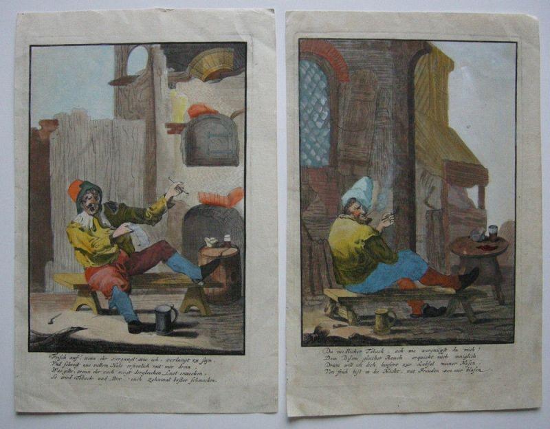 Tabak Vergnügungen des Rauchens 2 kolor. Orig. Kupferstiche 1800 Genussmittel