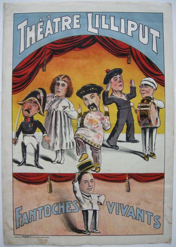 Plakat affiche Theatre Lilliput Fantoches vivants Orig. Farblithografie 1900