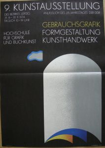 Frank Neubauer (1941) Plakat 9. Kunstausstellung Leipzig Gebrauchsgrafik 1974