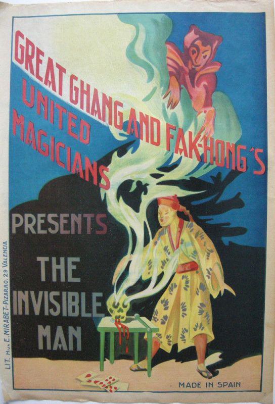 Great Ghang Fak-Hong Invisible Man Zauberer Orig Lithografie Plakat 1930 China