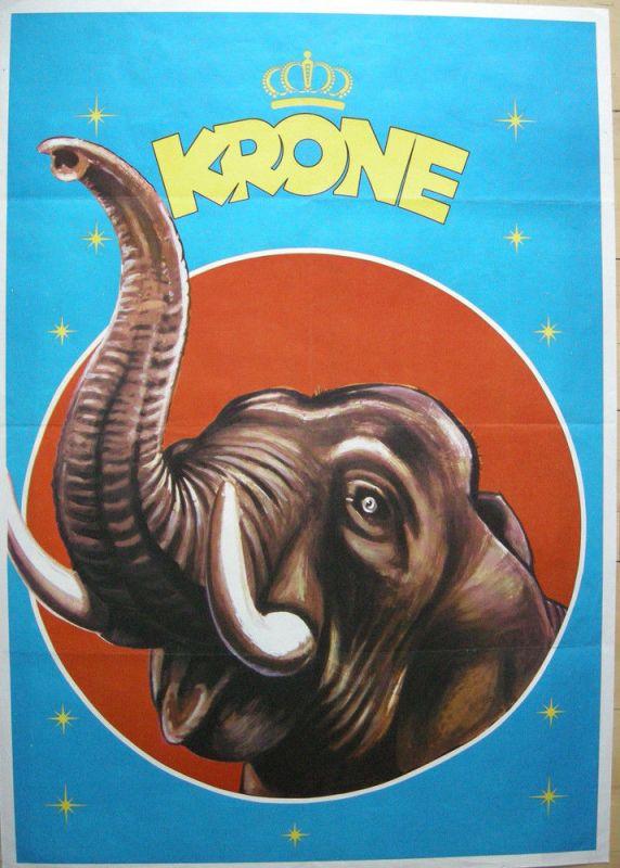 Plakat Zirkus Krone München Brüllender Elefant Offset1960