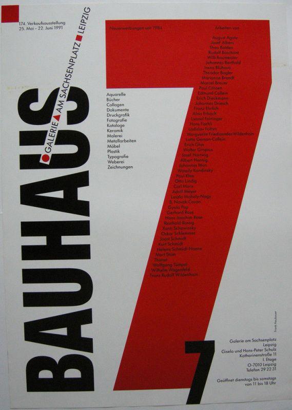 Plakat Bauhaus 7 Galerie am Sachsenplatz Leipzig 1991 Verkaufsausstellung
