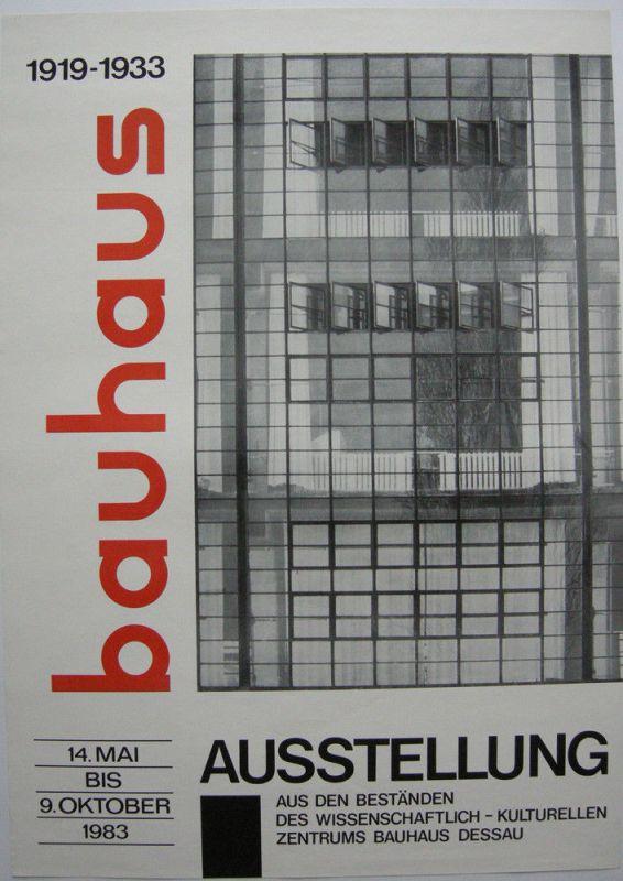 Plakat Bauhaus 1919-1933 Ausstellung Bestände Bauhaus Dessau 1983
