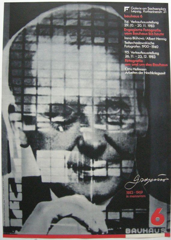 Plakat Bauhaus 3 in Memoriam Gropius Leipzig 1983 Galerie Sachsenplatz Leipzig