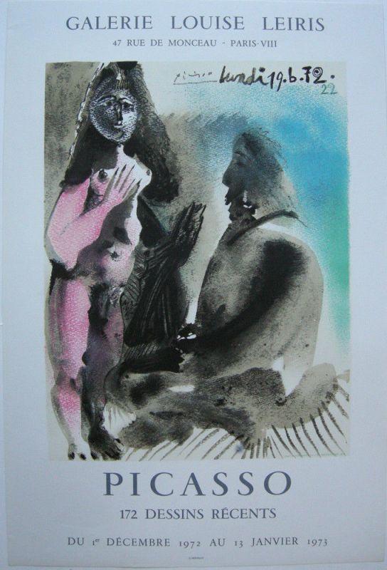 Plakat Picasso 172 Dessins recents Orig. Lithografie Mourlot 1972