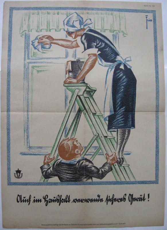 Plakat Unfallverhütung im Haushalt Orig Farblithografie 1930 Entwurf Fries