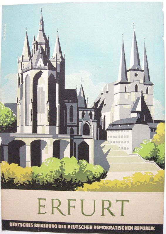 Tourismusplakat Erfurt Thüringen Orig Lithografie Reisebüro DDR 1960 Parschau