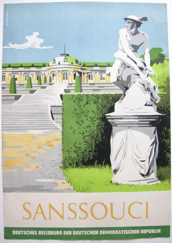 Tourismusplakat Sanssoucis Potsdam Orig Lithografie Reisebüro DDR 1960 Parschau