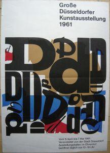 Düsseldorfer Kunstausstellung Plakat von Wolf D. Zimmermann 1961 Orig Serigrafie