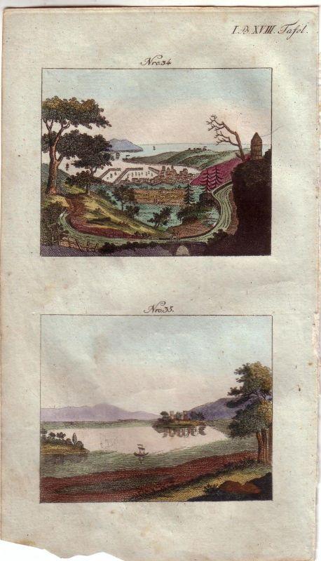 Toulon Seehafen France Schottland Loch Leven kolor Orig Kupferstich 1813