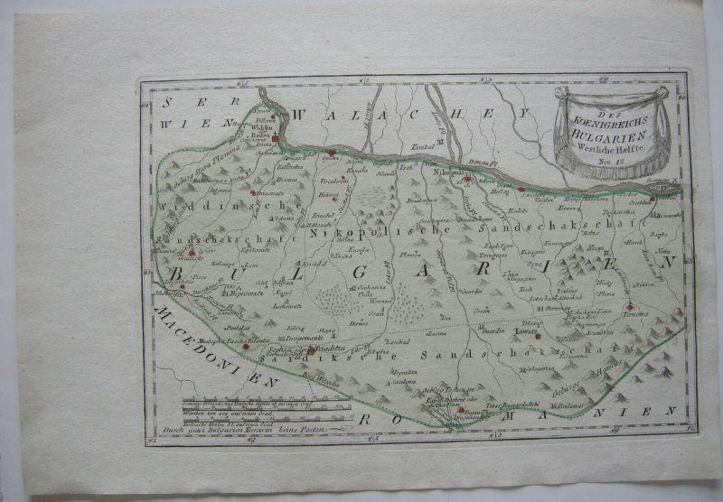 Bulgarien Westen Kolor Orig Kupferstichkarte Reilly 1791 Südosteuropa