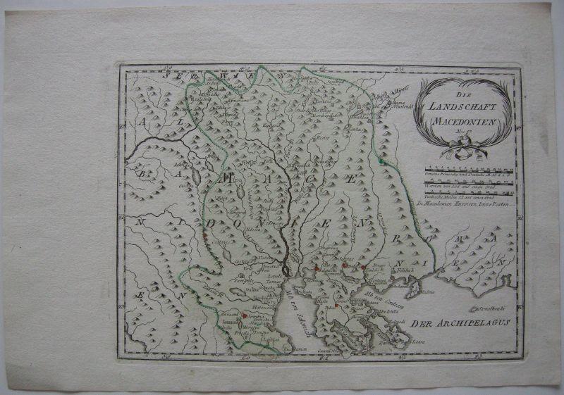 Landschaft Mazedonien Kolor Orig Kupferstichkarte Reilly 1791 Südosteuropa