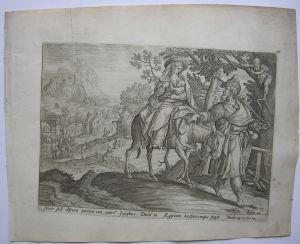 Maria Josef auf der Flucht nach Äypten Orig Kupferstich C. Visscher um 1650