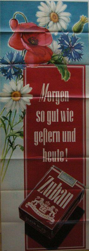 Plakat Zigarettenwerbung Zuban  Blumendekor Orig Lithografie 1953 Orienttabak