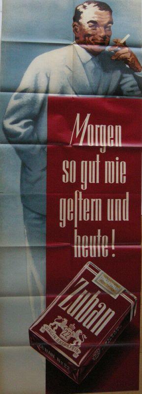 Plakat Zigarettenwerbung Zuban eleganter Herr Orig Lithografie 1953 Orienttabak