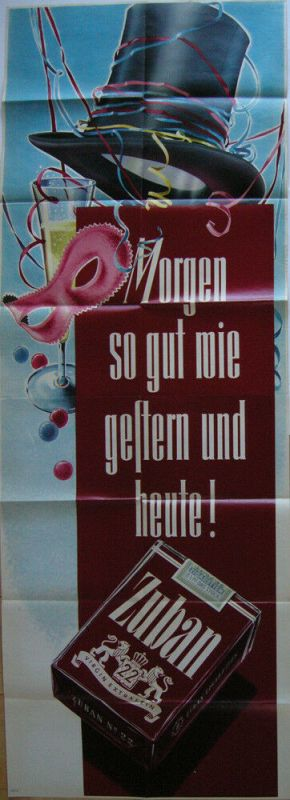 Plakat Zigarettenwerbung Zuban Tabak Orig Lithografie 1953 Orienttabak