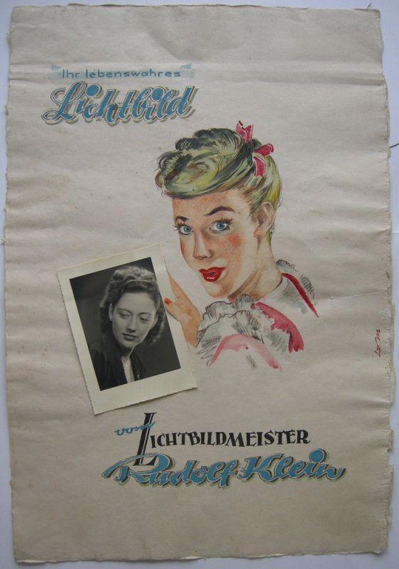 Atelier Rudolf Klein Werbeplakat Orig Gouache Unikat Foto Lichtbildner um 1955