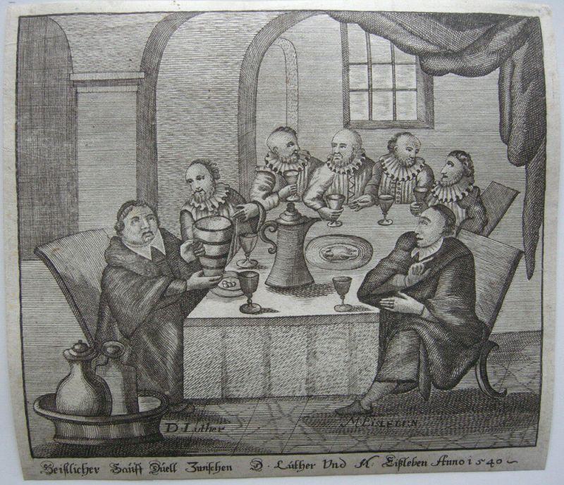 Luther Sauff Duell mit Eisleben Spottblatt auf Agricola Orig Kupferstich 1650