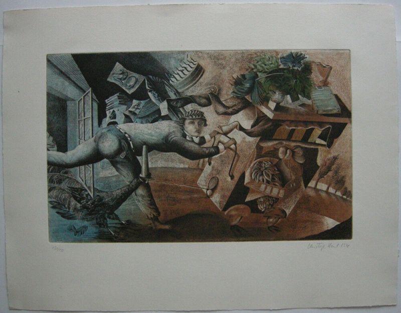 Christoph Hessel (1952)  Surreale Komposition Orig Aquatinta 1978 signiert
