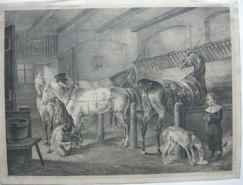 J J Kirchhoff (1796 –1848)  Pferdestall  Rennpferde Windhund Lithografie 1825