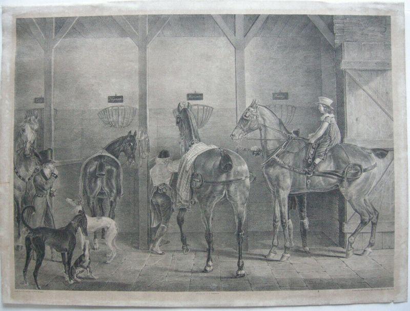 J J Kirchhoff (1796 –1848)  Pferdestall Englische Rennpferde Lithografie 1825