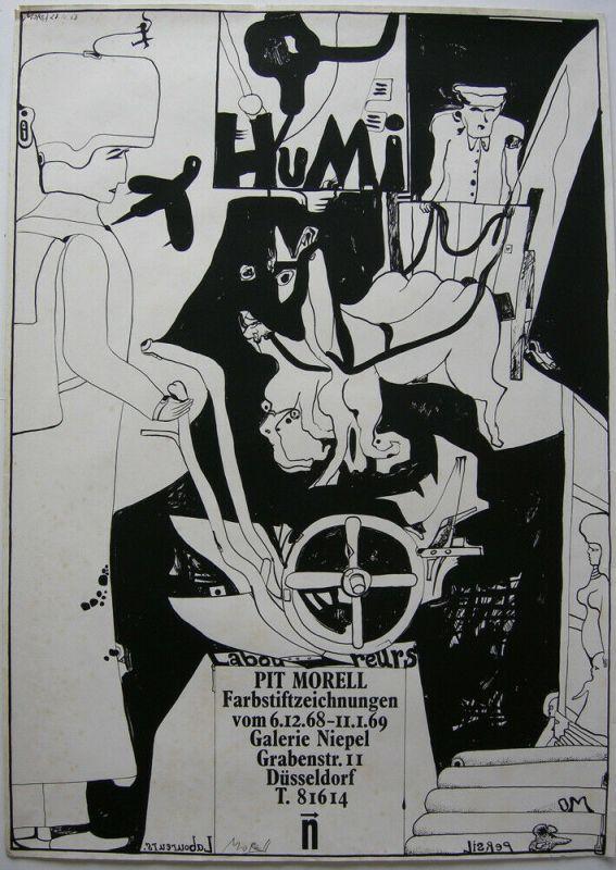 Pit Morell (1939) Farbstiftzeichnungen Plakat Galerie Niepel 1968 signiert