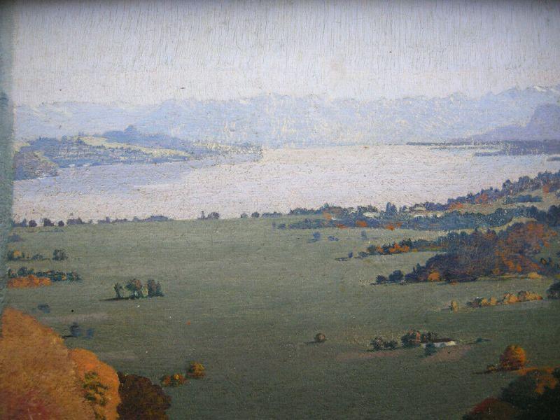 Karl Huber-Inning (XX) Blick auf Aummersee Öl Platte signiert gerahmt 3