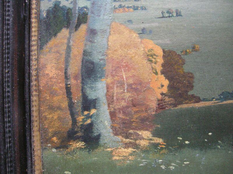 Karl Huber-Inning (XX) Blick auf Aummersee Öl Platte signiert gerahmt 4