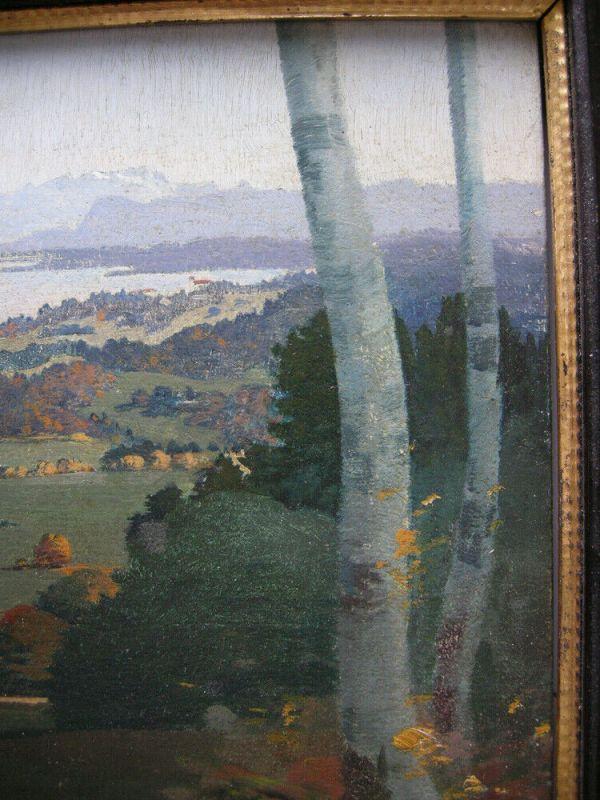 Karl Huber-Inning (XX) Blick auf Aummersee Öl Platte signiert gerahmt 5