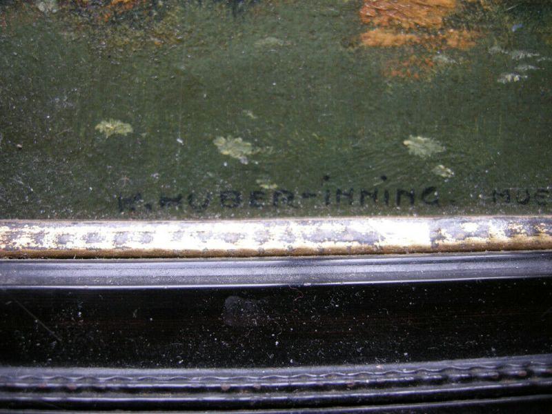 Karl Huber-Inning (XX) Blick auf Aummersee Öl Platte signiert gerahmt 6
