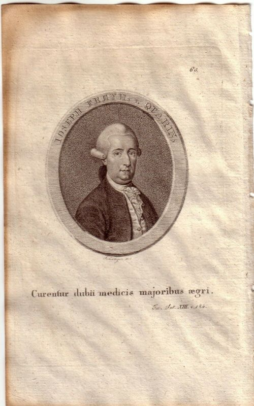Joseph Freiherr von Quarin österr. Arzt Orig Kupferstich S. Langer 1800