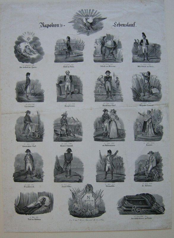 Napoleon Napoleon's Lebenslauf in 20 Stationen Orig Lithografie um 1830