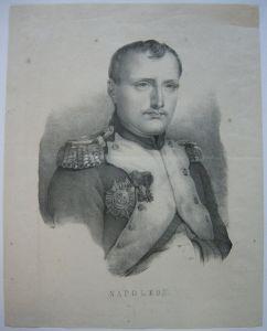 Napoleon Portrait Halbfigur Generalsuniform Orig Lithografie um 1830