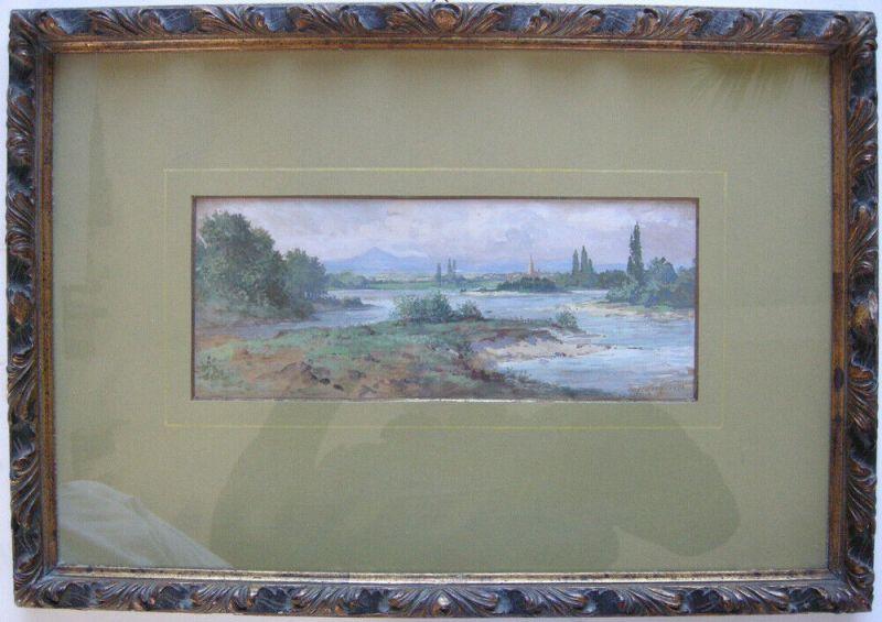 Otto A. Koch (1866-1920) Flusslandschaft Freiburg Orig Gouache 1894 signiert