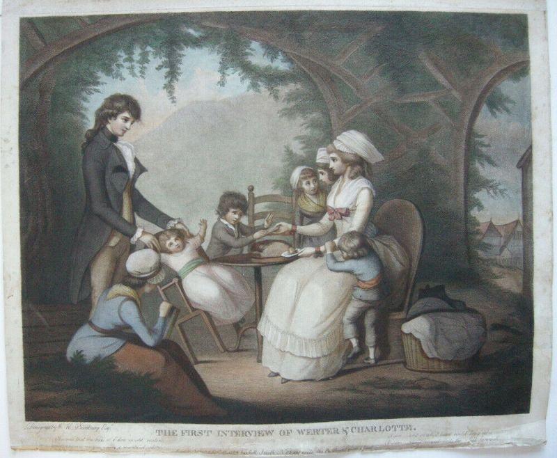 Henry W Bunbury (1750-1811) Werther Charlotte erstes Treffen Orig Radierung 1782