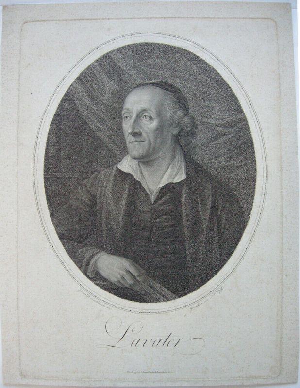 Joh C Lavater (1741-1801) Theologe Schriftsteller Punktierstich Pfeiffer 1800