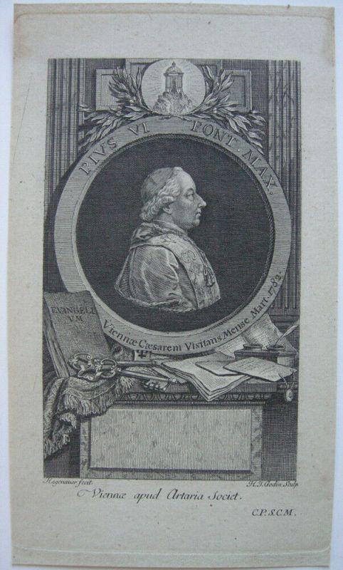 Papst Pius VI. (1717-1789) Pontifex Maximus Portrait Orig Kupferstich 1780