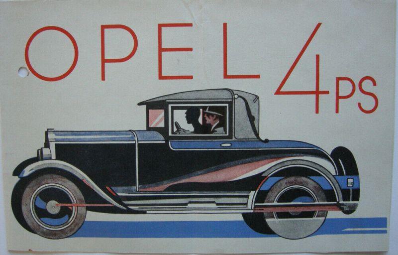 Werbeprospekt Opel 4 PS Rüsselsheim 1928 Automobil Entwurf Ernst Zoberbier