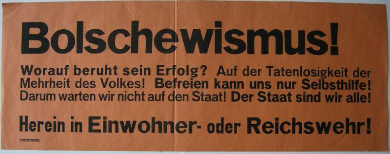 Aufruf Bolschewismus Aufruf Eintritt Einwohner- oder Reichswehr 1919 München