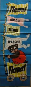 Plakat Waschmittelwerbung Flawal 167 x 59 cm Reklame 2 Teile 1954 Lithografie