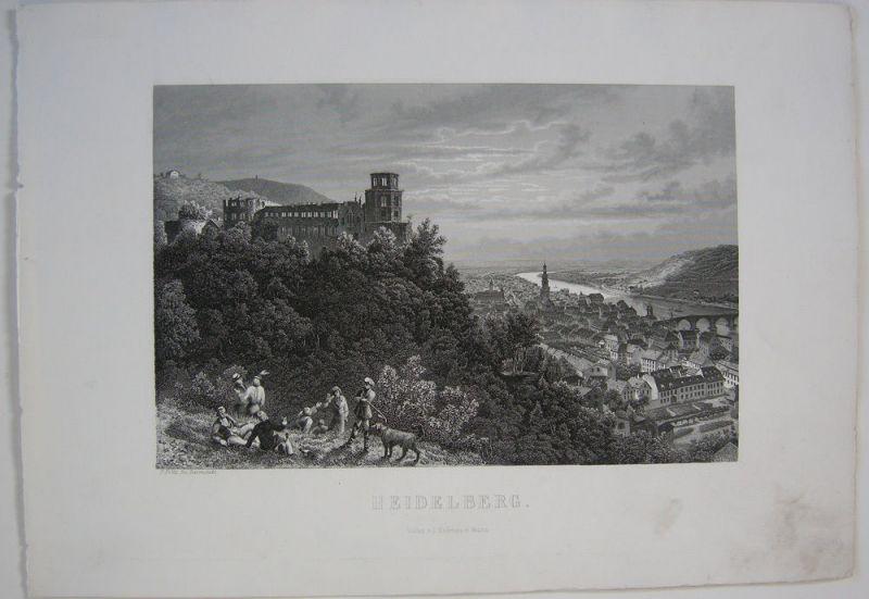Heidelberg Burg Gesamtansicht Orig Stahlstich F. Foltz 1860 Baden Württemberg