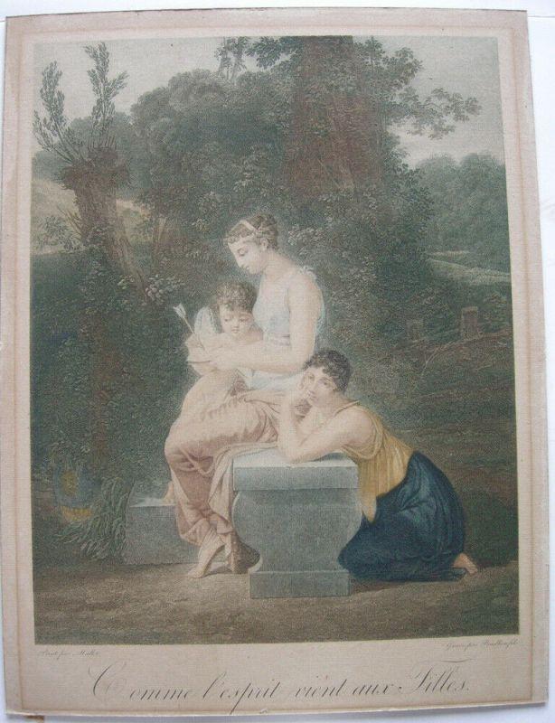 Jean-Baptiste Mallet Comme l'esprit vient aux Filles Orig. Kupferstich 1820