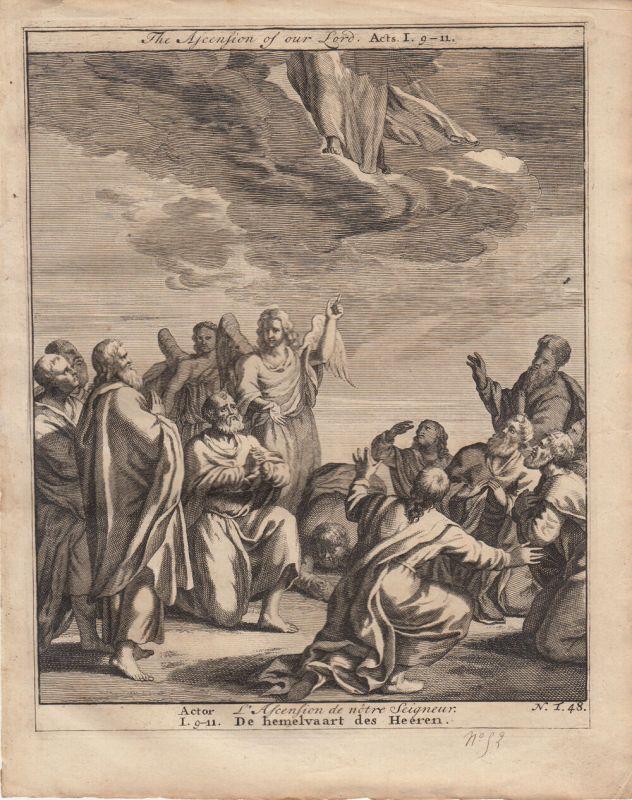 Jesus steigt in den Himmel auf Actor Bibel Orig Kupferstich 1710