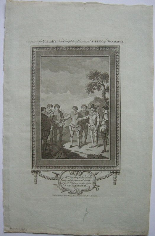 Enthauptung Mr. Doughly Francis Drake Patagonia Orig. Kupferstich 1782