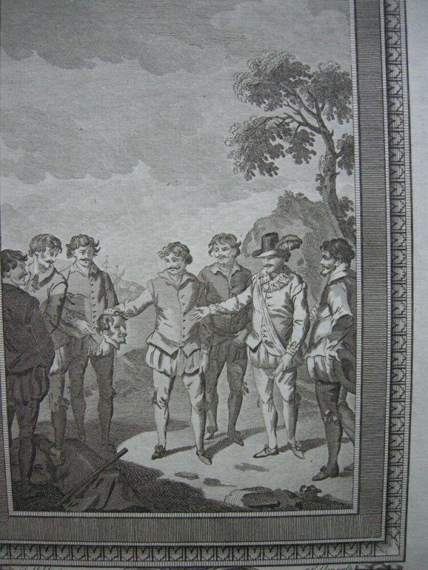 Enthauptung Mr. Doughly Francis Drake Patagonia Orig. Kupferstich 1782 1