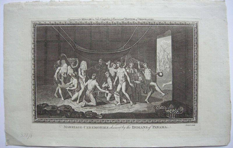 Hochzeitszeremonie Marriage Ceremonies Indianer Panama Orig. Kupferstich 1782