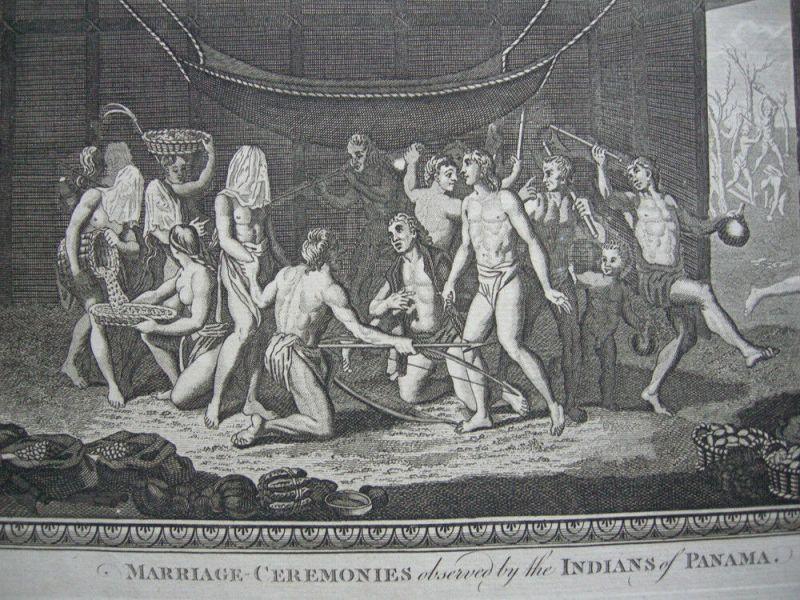 Hochzeitszeremonie Marriage Ceremonies Indianer Panama Orig. Kupferstich 1782 3