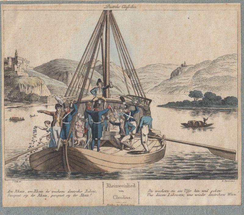 Rheinweinlied M. Claudius kolor Orig Umrissradierung 1820 Voltz Fleischmann