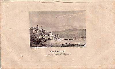 Korsika Corse France Vue d'Ajaccio l'Hopital Stahlstich Gravure de fer 1850 0